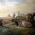 Country Landscapes With Cows by Egidio Graziani