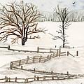 Country Snow Scene Ozaukee County Wisconsin by Carol Komassa