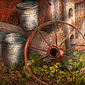 Country - Some Dented Pails And An Old Wheel  by Mike Savad