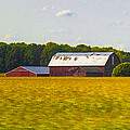 Countryside Landscape With Red Barns by Ben and Raisa Gertsberg