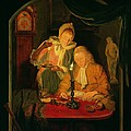 Couple Counting Money By Candlelight, 1779 Panel by Michiel Versteegh