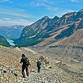 Couple Hiking On Plain Of Six Glaciers Trail  In Banff Np-albert by Ruth Hager