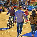 Couples Summer In The City Walking Biking Strolling With Baby Carriage Art Of Montreal Street Scene by Carole Spandau