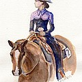Horse Painting Cowgirl Courage by Maria's Watercolor