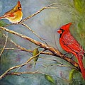 Courting Cardinals, Birds by Sandra Reeves