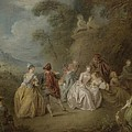 Courtly Scene In A Park, C.1730-35 by Jean-Baptiste Joseph Pater