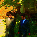 Covenant Conversation Two Men Of God Hasidic Community Montreal City Scene Rabbinical Art Carole Spa by Carole Spandau