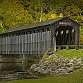Covered Bridge In Fall by Randall Nyhof