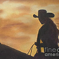Cow Girl At Sunset by Julie Brugh Riffey