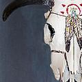 Cow Skull In Blue by Betty LaRue
