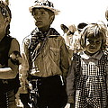 Cowboy And Indian Armory Park Tucson Arizona Black And White Toned by David Lee Guss