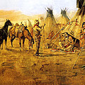 Cowboy Bargaining For The Indian Girl by Charles Russell