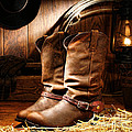 Cowboy Boots In  A Ranch Barn by American West Decor By Olivier Le Queinec