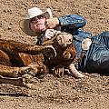 Cowboy Has Steer By Horn by James Gordon Patterson