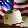 Cowboy Hat and American Flag by Olivier Le Queinec