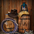Cowboy Hat And Bronco Riding Gloves by Paul Ward