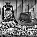 Cowboy Hat And Rodeo Lasso In A Black And White by Paul Ward