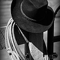 Cowboy Hat On Fence Post In Black And White by Paul Ward