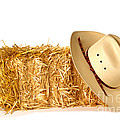 Cowboy Hat On Straw Bale by Olivier Le Queinec