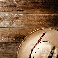 Cowboy Hat On Wood by American West Decor By Olivier Le Queinec