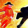 Cowboy Rodeo Clown And Black Bull 1 by Richard W Linford