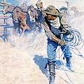 Cowboy Roping Wild Horses by N C Wyeth