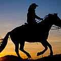 Cowgirl At Sunrise by Inge Johnsson