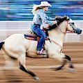 Cowgirl Rides Fast For Best Time by Panoramic Images