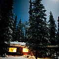 Cozy Log Cabin At Moon-lit Winter Night by Stephan Pietzko