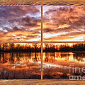 Crane Hollow Sunrise Barn Wood Picture Window Frame View by James BO Insogna