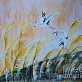 Crane On Reed Marshes by Linda Lin