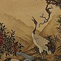 Cranes Beside A River With A Plum Tree by Nicola Mountney