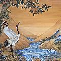 Cranes Beside A Rocky Pool by Nicola Mountney