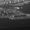 Cranes Long Beach Ca Aerial Bw by Thomas Woolworth