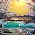 Crashing Wave At Sunrise by Kevin  Brown