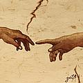 Creation Of Adam Hands A Study Coffee Painting by Georgeta  Blanaru