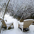 Creekside Chairs In The Snow 2 by Duane McCullough