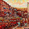 Crescent Street Family Stroll  Montreal City In Autumn City Scene Paintings Carole Spandau by Carole Spandau