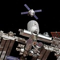 Crew Exploration Vehicle Approaching Iss by Walter Myers/science Photo Library