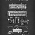 Cribbage Board 1885 Patent Art Black by Prior Art Design