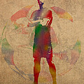 Cristiano Ronaldo Soccer Football Player Portugal Real Madrid Watercolor Painting on Worn Canvas by Design Turnpike