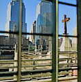 Cross At World Trade Towers Memorial by Panoramic Images