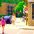 Crossing Notre Dame At Charlevoix To Dilallo Burger Montreal Summer City Scene Carole Spandau by Carole Spandau