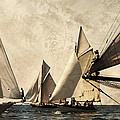 A Vintage Processed Image Of A Sail Race In Port Mahon Menorca - Crowded Sea by Pedro Cardona Llambias