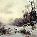 Crows In A Winter Landscape by Karl Kustner