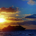 Cruise Liner At Sunset by Wladimir Bulgar/science Photo Library