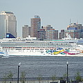 Cruise Ship On The Hudson by Evelyn Hill