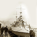 Cruiser Uss New York Going Into Dry Dock San Francisco Circa 1903 by California Views Archives Mr Pat Hathaway Archives