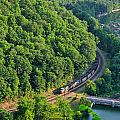 Csx Train At Hawks Nest Dam by Mary Almond
