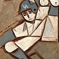 Cubism La Dodgers Baserunner Painting by Tommervik